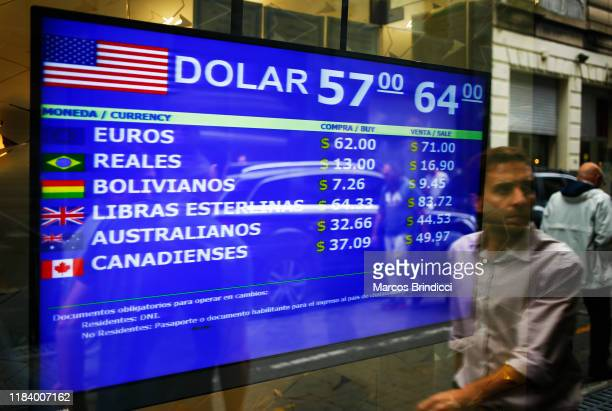 Man walks past a currency exchange house on October 28 2019 in Buenos Aires Argentina National Central Bank restricted the limit for dollar purchases...