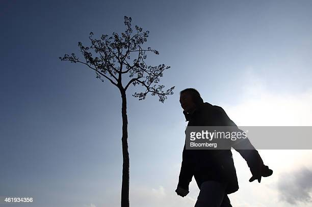 A man walks past a monument dedicated to the lone pine tree that survived the March 2011 earthquake and tsunami in Rikuzentakata Iwate Prefecture...