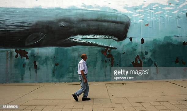 A man walks past a mural June 27 2005 in downtown New London Connecticut The US Supreme Court ruled June 23 in a closely watched property rights case...
