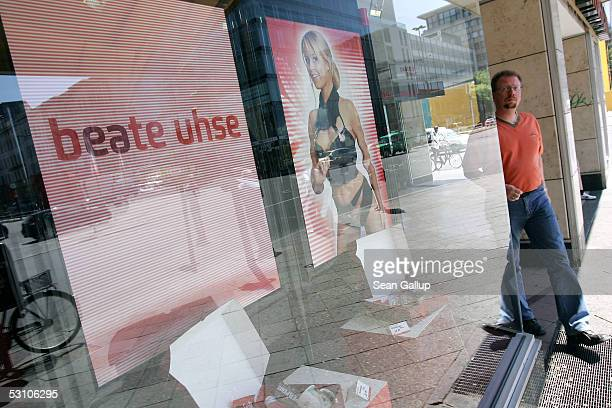 A man walks past a shop of German erotic merchandise retailer Beate Uhse June 20 2005 in Berlin Germany Beate Uhse executives announced at the...