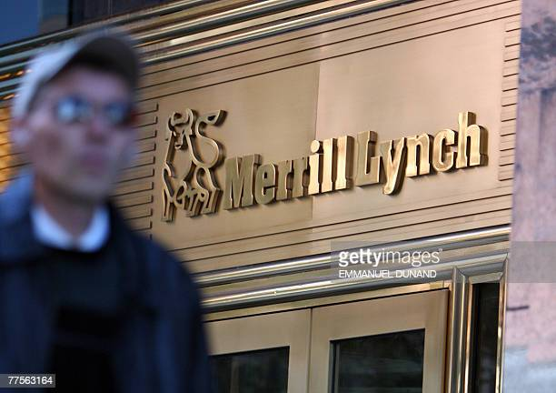 A man walks past a sign at the entrance of Merril Lynch headquarters in New York 30 October 2007 Merrill Lynch ousted chairman and chief executive...