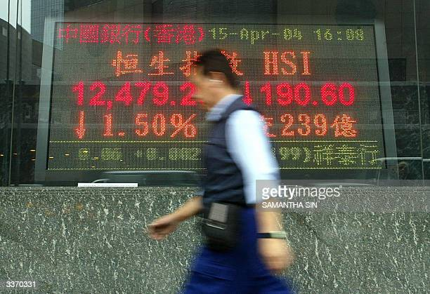 A man walks past a sign board showing the 15 percent drop in the Hang Seng Index of the Hong Kong Stock Exchange 15 April 2004 Hong Kong share prices...