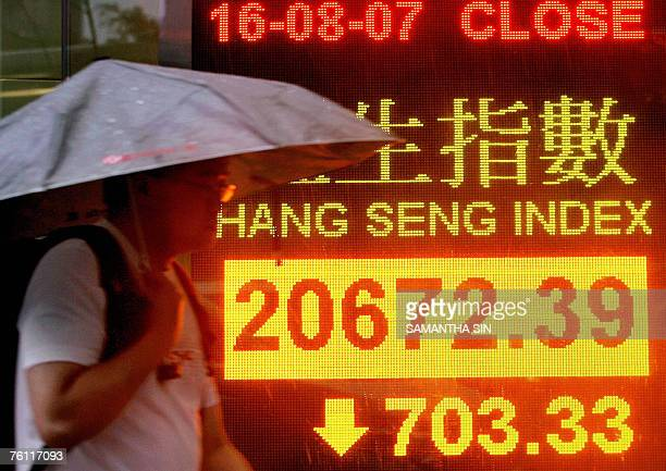Man walks past a sign showing the closing numbers of Hong Kong's Hang Seng Index, 16 August 2007. Hong Kong share prices closed sharply lower, down...
