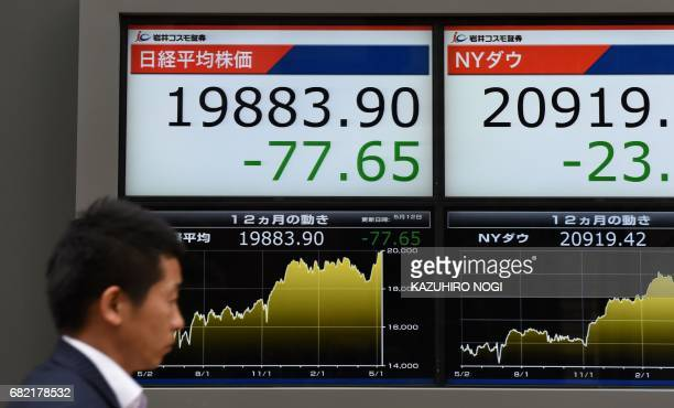 A man walks past a stock quotation board flashing the key Nikkei index of the Tokyo Stock Exchange and New York Dow in front of a securities company...