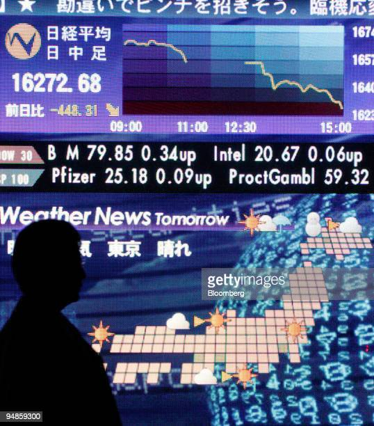 A man walks past a video display in Tokyo showing the Nikkei 225 Stock Average at 1627268 as well as a weather map of Japan Wednesday February 8 2006...