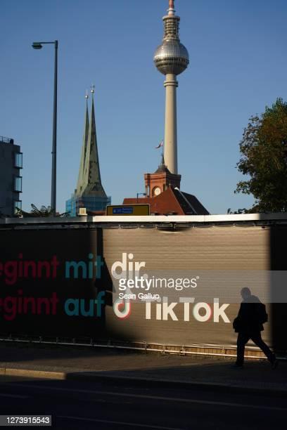 Man walks past an advertisement for social media company TikTok on September 21, 2020 in Berlin, Germany. U.S. President Donald Trump has given...