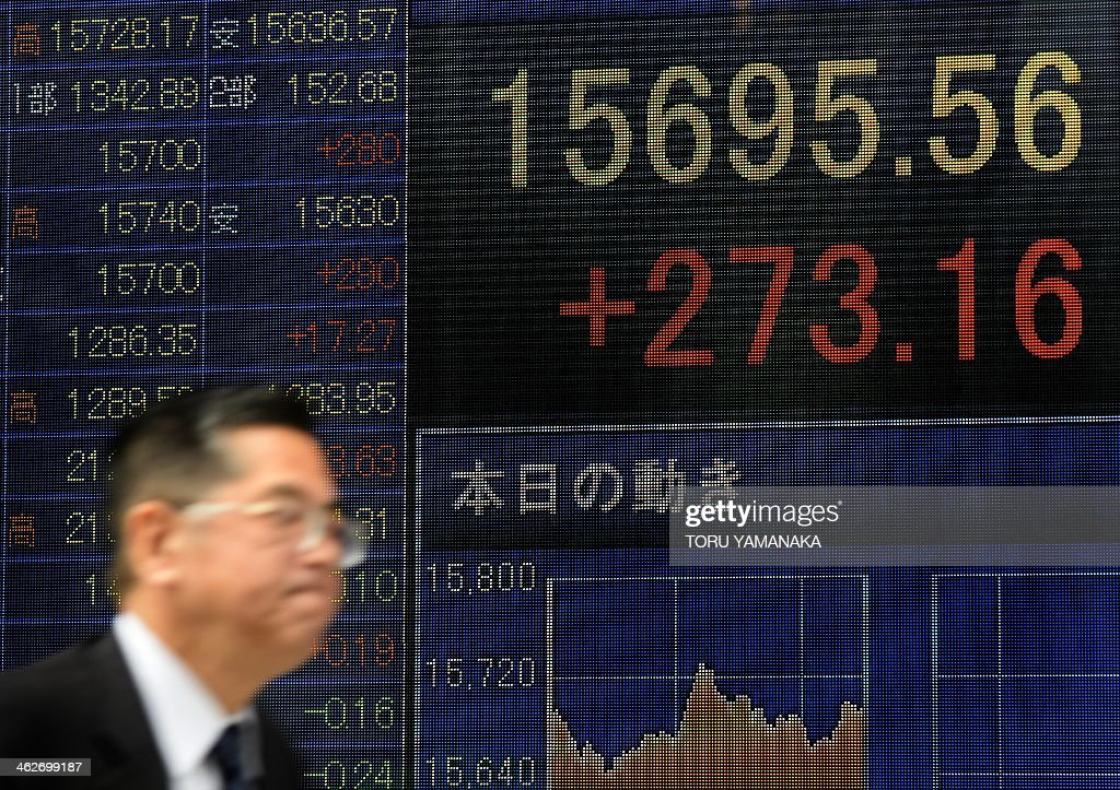 A man walks past an electric quotation board flashing the Nikkei key index of the Tokyo Stock Exchange (TSE) in front of a securities company in Tokyo on January 15, 2014. Tokyo stocks rose 1.77 percent, tracking a rise on Wall Street that was driven by a better-than-expected report on US December retail sales. AFP PHOTO/Toru YAMANAKA