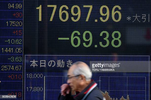 A man walks past an electric quotation board flashing the Nikkei key index of the Tokyo Stock Exchange in front of a securities company in Tokyo on...