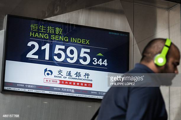 A man walks past an electronic board displaying the midday results of the Hang Seng Index stock market in Hong Kong on August 25 2015 Hong Kong...