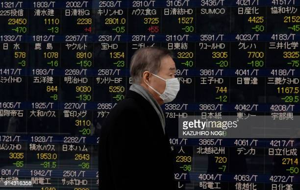 TOPSHOT A man walks past an electronics stock indicator shows stocks on the Tokyo Stock Exchange in Tokyo on February 5 2018 Tokyo stocks opened...