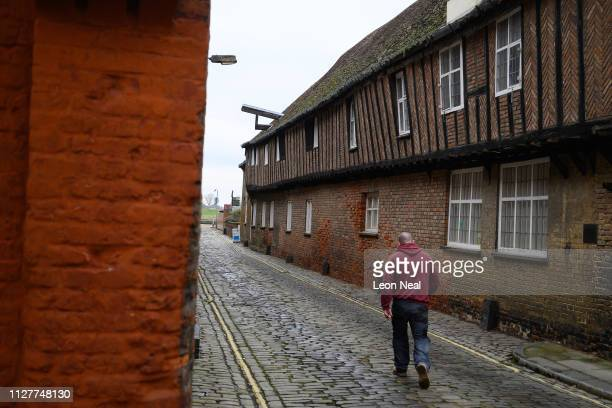 """Man walks past Hanse House, the only surviving """"Kontor"""" or trading post of the Hanseatic League on February 05, 2019 in King's Lynn, England. The..."""