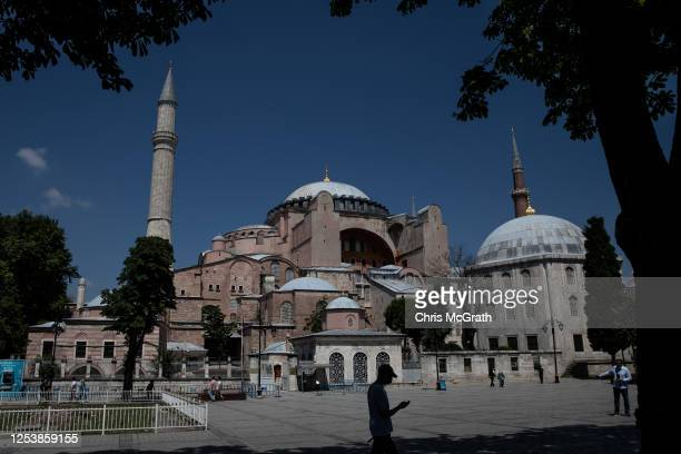 A man walks past Istanbul's famous Hagia Sophia on July 02 2020 in Istanbul Turkey Turkey's Council of State will begin a review today of the...