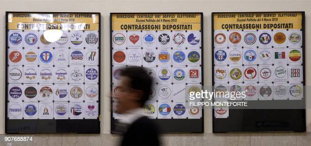 A man walks past the board bearing the parties logos registered at the Interior Ministry on January 20 2018 for the upcoming general elections to be...