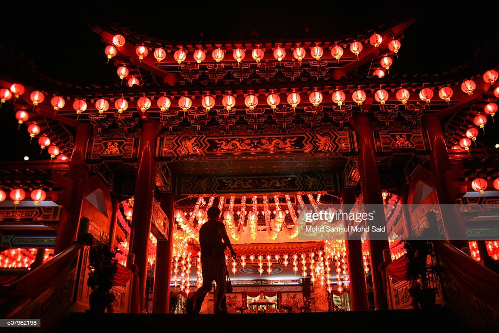 A man walks past the lantern L.E.D light decorated outside the Thean Hou temple ahead of Lunar New Year of the monkey celebrations outside Kuala Lumpur on February 2, 2016 in Kuala Lumpur, Malaysia. According to the Chinese calendar, the Lunar New Year which falls on February 8 this year marks the Year of the Monkey, the Chinese Lunar New Year also known as the Spring Festival is celebrated from the first day of the first month of the lunar year and ends with Lantern Festival on the Fifteenth day.