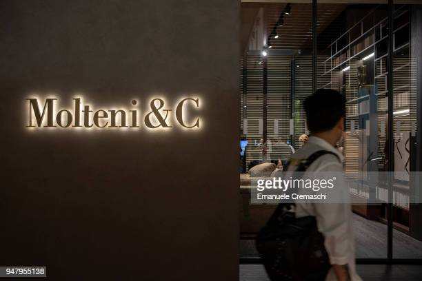A man walks past the Molteni C display stand during the Salone Internazionale del Mobile at Fiera di Rho on April 17 2018 in Milan Italy Every year...