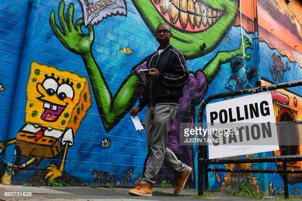 TOPSHOT A man walks past the polling station set up at a community centre in south London on on June 8 as Britain holds a general election As polling...