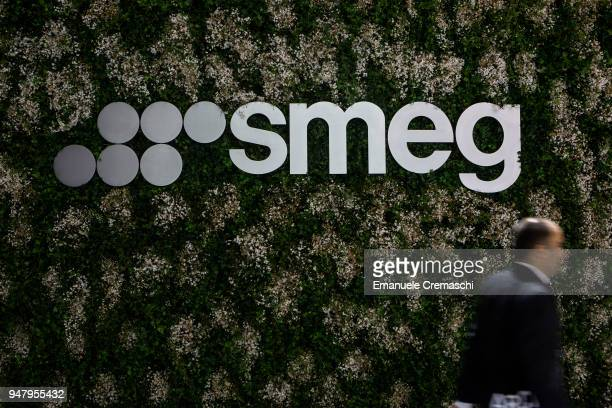 A man walks past the SMEG display stand during the Salone Internazionale del Mobile at Fiera di Rho on April 17 2018 in Milan Italy Every year Salone...