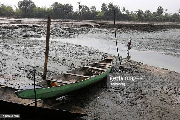A man walks through an oil polluted creek near a fishing boat in Goi Nigeria on Wednesday Jan 13 2016 Twenty years after the oilpollution crisis in...
