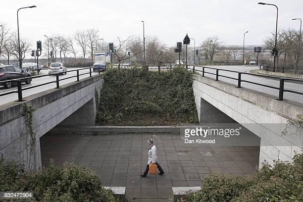 Man walks through an underpass on January 23, 2017 in Milton Keynes, England. Milton Keynes in Buckinghamshire marks the 50th anniversary of its...