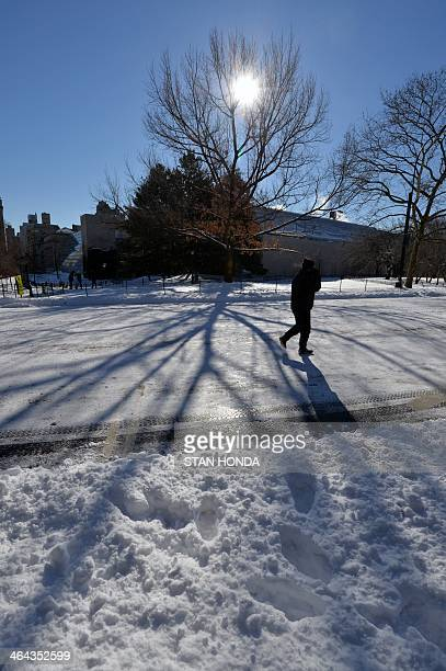 A man walks through Central Park in frigid temperatures January 22 2014 in New York The northeastern US shivered amid heavy snowfall and far below...