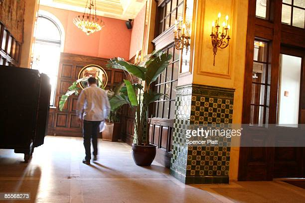 A man walks through the lobby of the Jane Hotel a new hotel built around the concept of budget conscious travel with style on March 23 2009 in New...