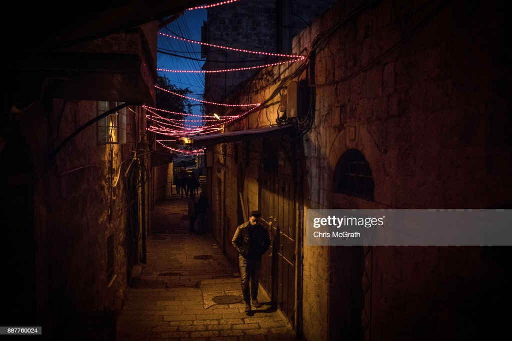 A man walks through the Old City on December 7, 2017 in Jerusalem, Israel. Tension is high in Jerusalem a day after U.S President Donald Trump's announcement recognizing Jerusalem as the capital of Israel. President Trump went ahead with the announcement despite warnings from Middle East leaders and the Pope condemning the decision. Clashes between Israeli forces and Palestinian protesters erupted in several West Bank cities.