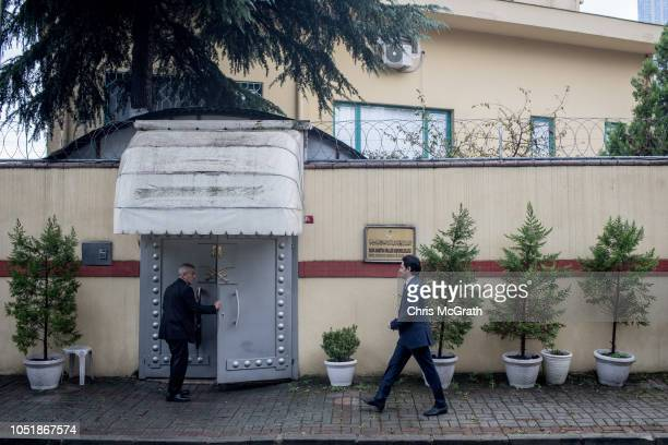 A man walks to the front door of Saudi Arabia's consulate on October 11 2018 in Istanbul Turkey Fears are growing over the fate of missing journalist...