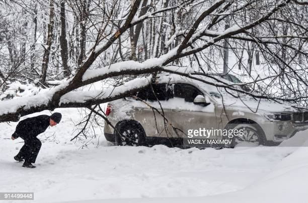 A man walks under a tree lying on a car after a snowstorm in Moscow on February 5 2018 Moscow authorities battled to clear streets and told children...