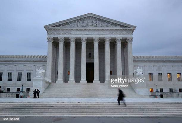 A man walks up the steps of the US Supreme Court on January 31 2017 in Washington DC Later today President Donald Trump is expected to announce his...