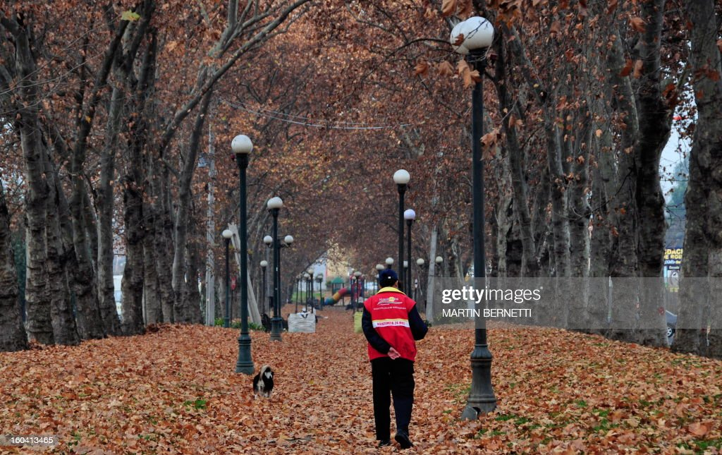 A man walks with his dog during a cold fall morning in Santiago, Chile, on June 16, 2009. AFP PHOTO/Martin BERNETTI /