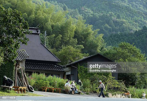 A man walks with his pet dog through an illustration showing scarecrows sitting beside a road at Kakashi no Sato or the Scarecrow's Hometown on...