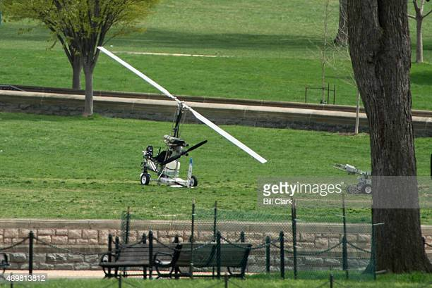 A man was arrested after landing a gyrocopter on the West Lawn of the US Capitol on Wednesday April 15 2015 The small helicopter was painted with a...