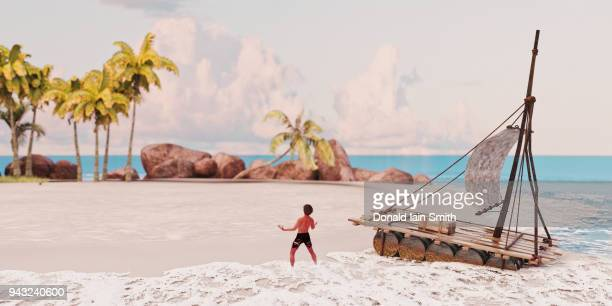 man washed ashore on desert island - stranded stock photos and pictures