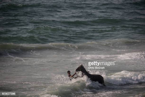 A man washes his horse at the beach on July 21 2017 in Gaza City Gaza For the past ten years Gaza residents have lived with constant power shortages...