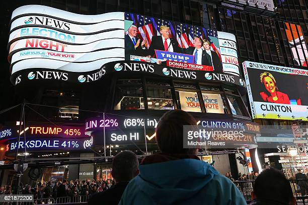 A man watches as Republican presidentelect Donald Trump's acceptance speech is broadcast at Times Square Studios after winning the US presidential...