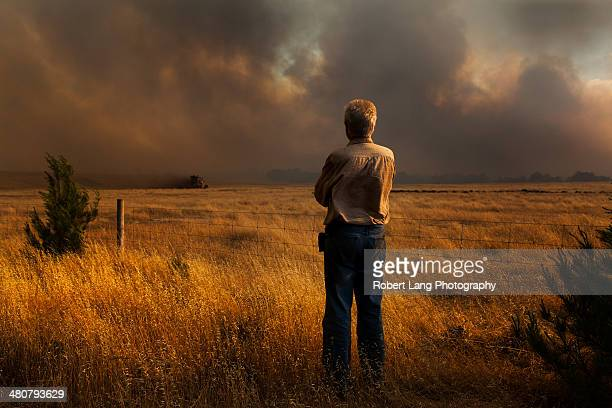 man watches bushfire as property and lives at risk - australian bushfire stock pictures, royalty-free photos & images