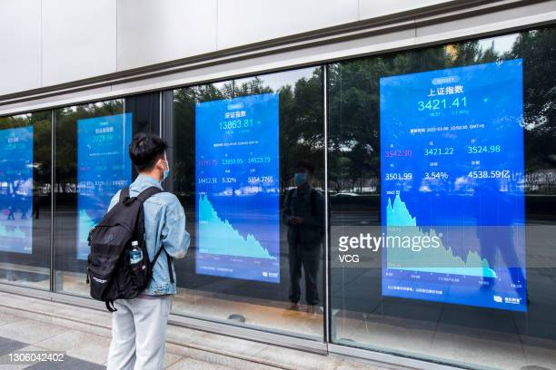 Man watches electrical screen showing stock price index on March 8, 2021 in Shanghai, China.