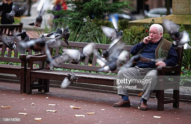 A man watches feeding pigeons in George Square on November 1 2010 in Glasgow Scotland According to a poll released today 66% of Brits will feel...