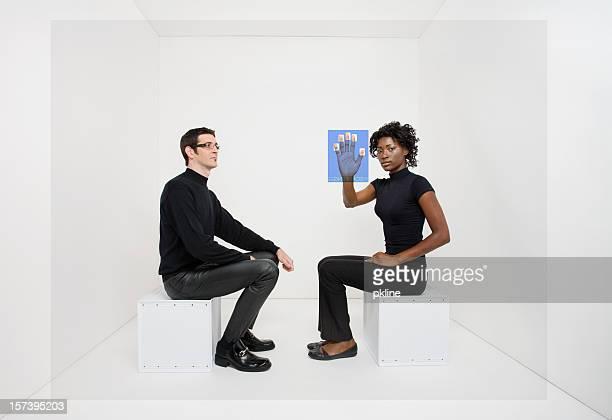 Man watches woman using virtual fingerprint scanner