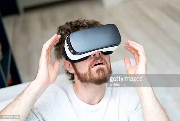Man watching a movie on a VR device