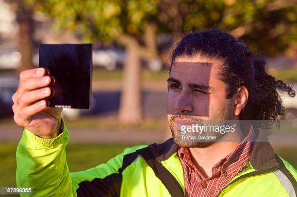 CONTENT] Man watching a solar eclipse safely through an arc welding glass filter Arc welding glass filters Shade 14 or 16 are safe and work well to...