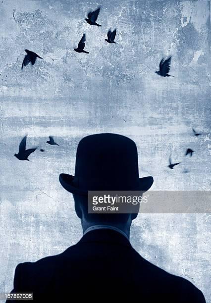 Man watching birds fly.