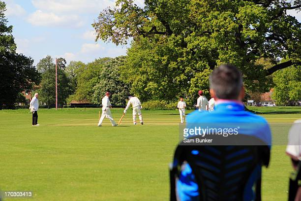Man watching cricket during a summer's day.