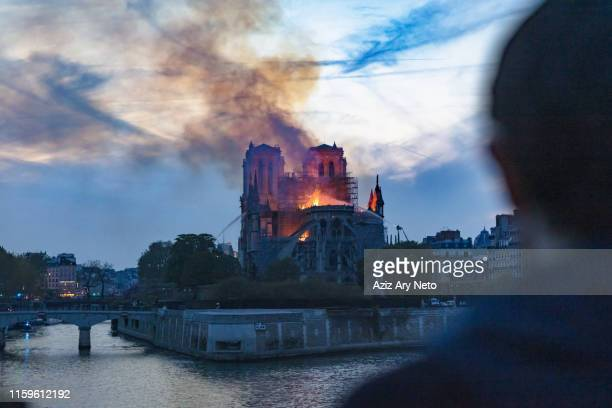 man watching notre-dame de paris fire from far, paris, ile-de-france, france - notre dame de paris photos et images de collection