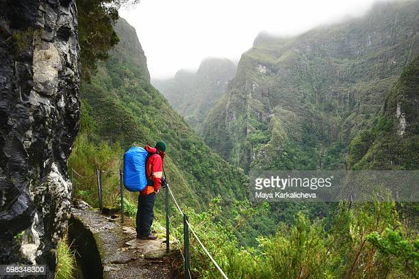 Man watching the environment on a path in Madeira