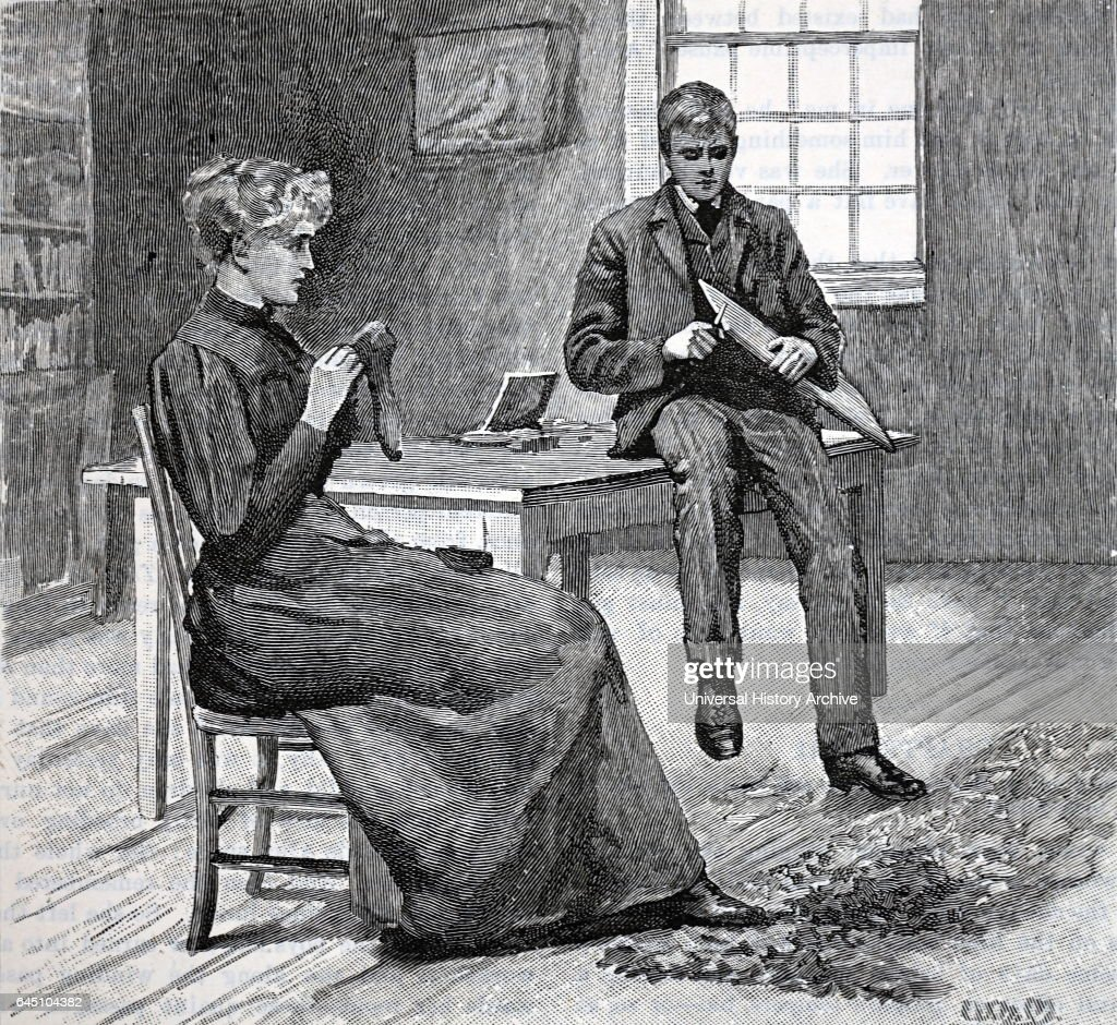 man watching with a sinister expression as a woman darns a