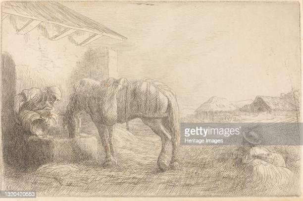 Man Watering a Horse . Artist Alphonse Legros.
