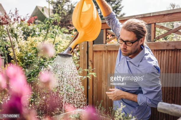 man watering flowers in garden - watering stock pictures, royalty-free photos & images