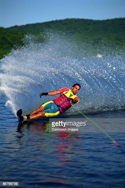 man waterskiing on - waterskiing stock photos and pictures