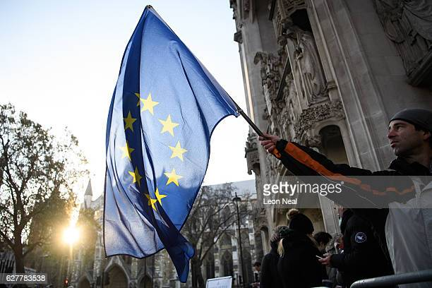 A man waves the EU flag in front of the Supreme Court ahead of the first day of a hearing into whether Parliament's consent is required before the...